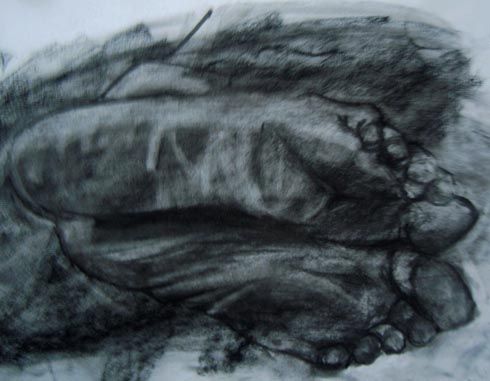 Feet Study, 2011 (charcoal on paper)