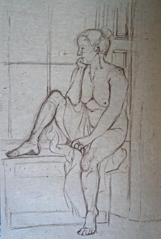 Out of the Bath, 2011 (wax pencil on paper)